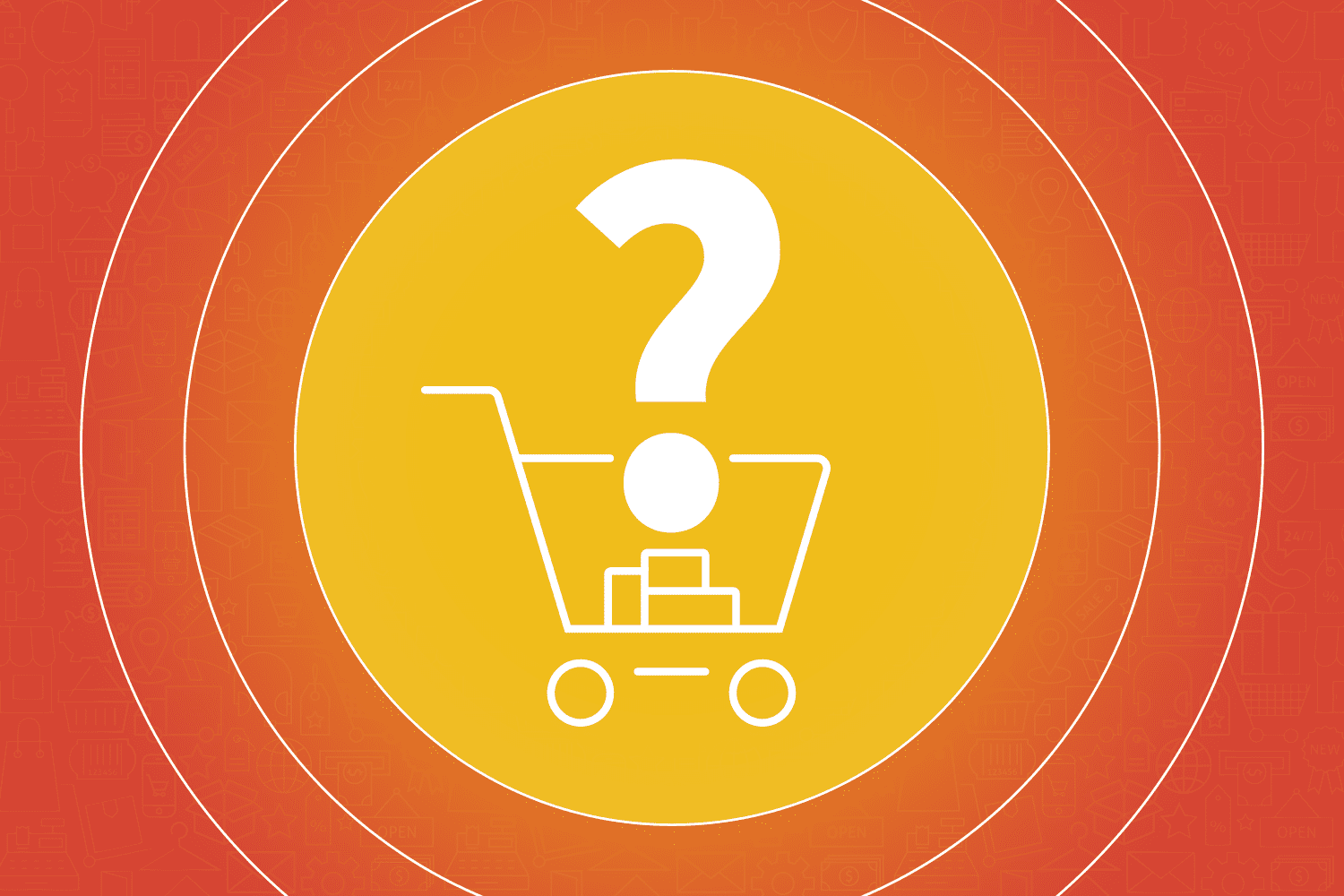 Shopping cart abandonment icon with a question mark above it