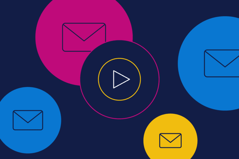 Video email depicted by play button and email icons