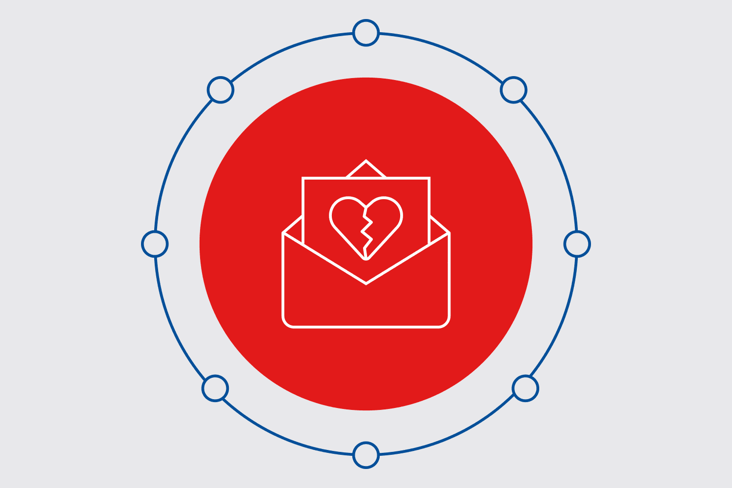 Email icon featuring a letter with a broken heart to depict breaking up with your subscribers