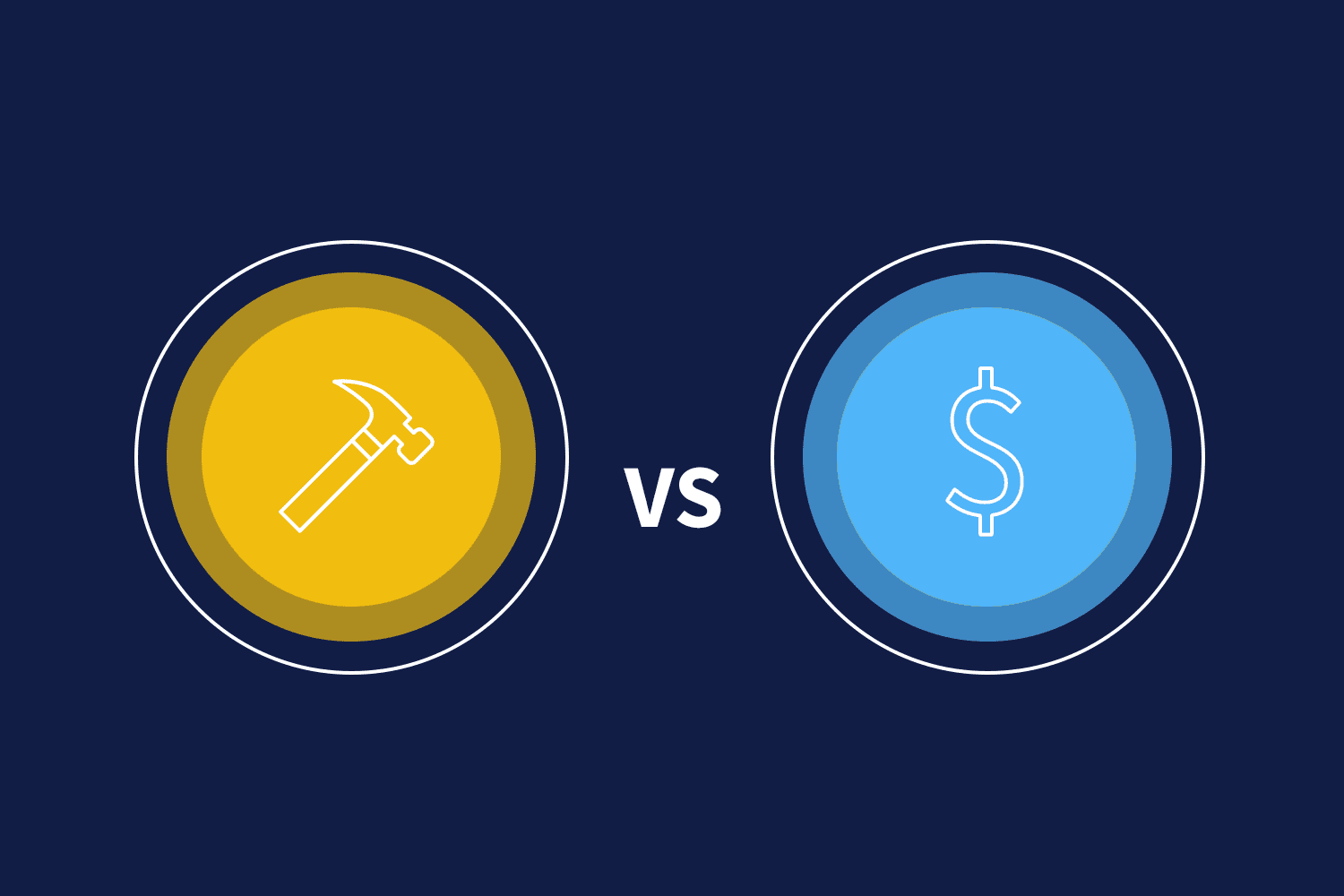 Hammer and dollar sign icons depicting the build vs buy martech debate