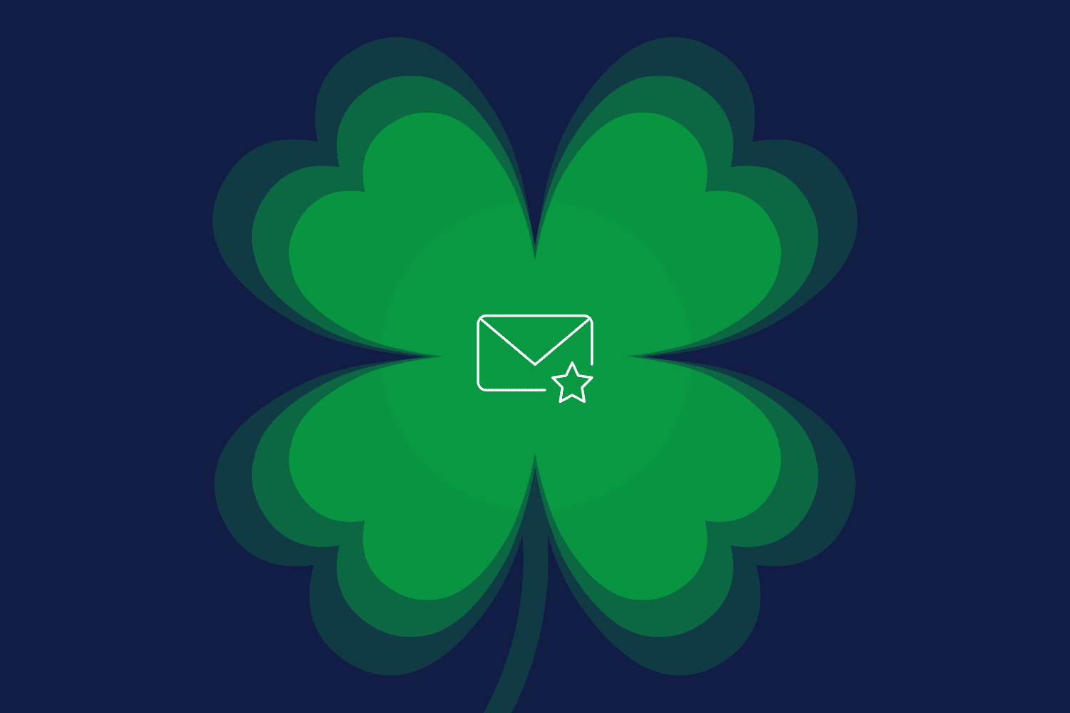 Four-leaf clover with email icon to depict St. Patrick's Day marketing