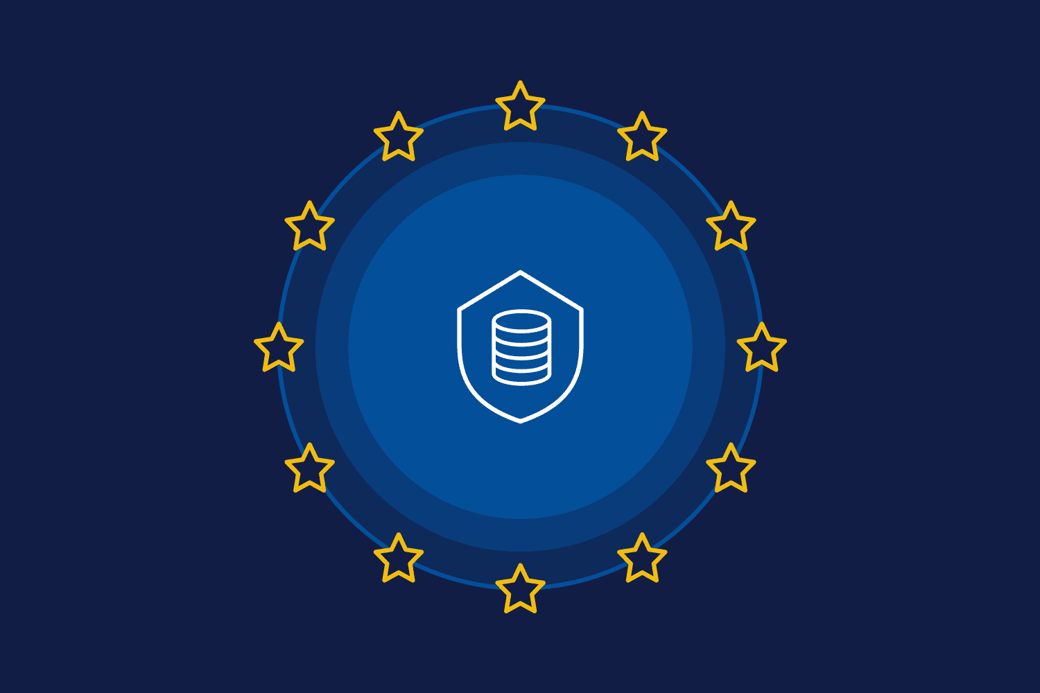 EU flag with data protection icon in center