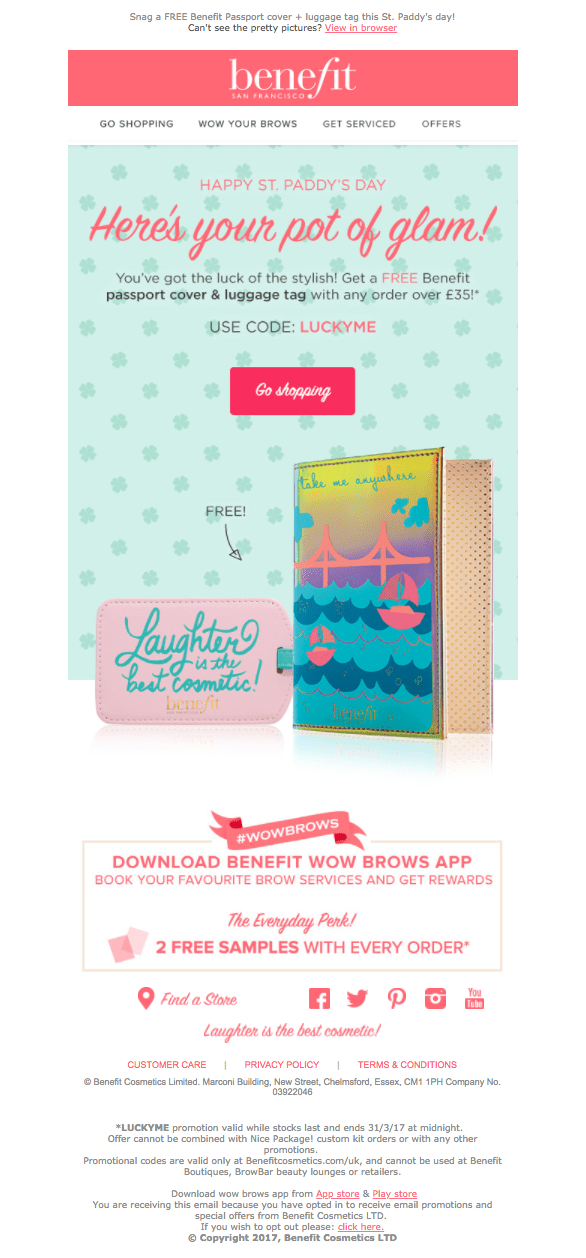 Screenshot of St. Patrick's Day email by Benefit Cosmetics