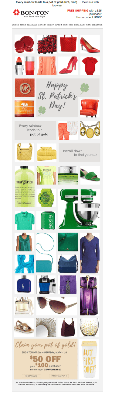 Screenshot of Bon-Ton's St. Patrick's Day email
