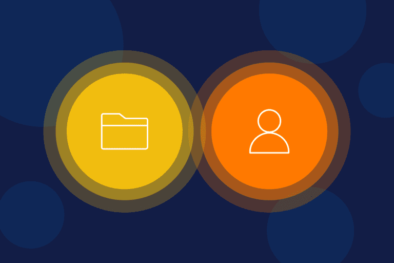 Folder and human icons represent B2B vs. B2C