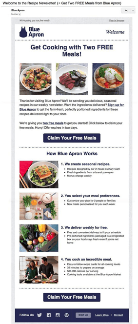 Blue Apron welcome email