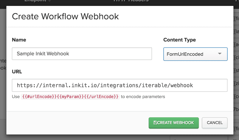 Screenshot of Inkit direct mail webhook in Iterable