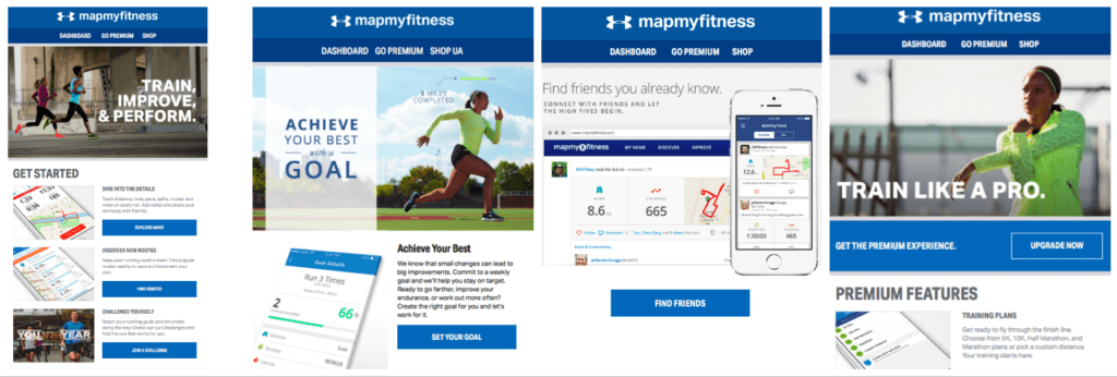 Screenshot of MapMyFitness onboarding email campaign