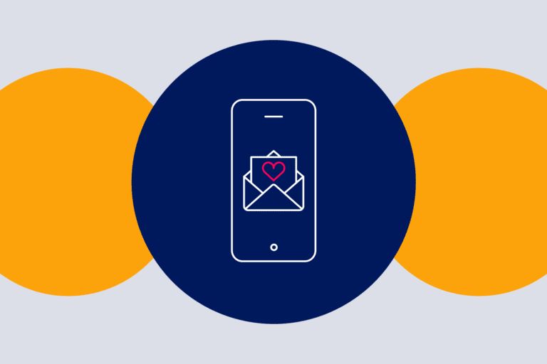 Phone with email icon to depict mobile user engagement