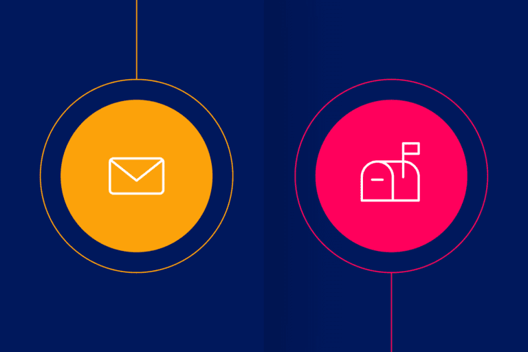Email and mailbox icons to depict direct mail automation