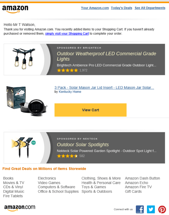 Amazon cart abandonment email