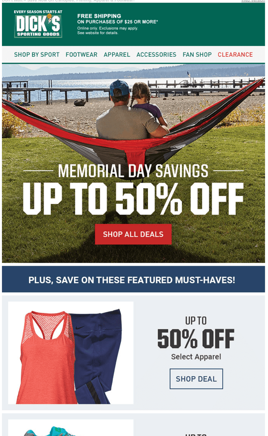 Dick's Sporting Goods Memorial Day email screenshot