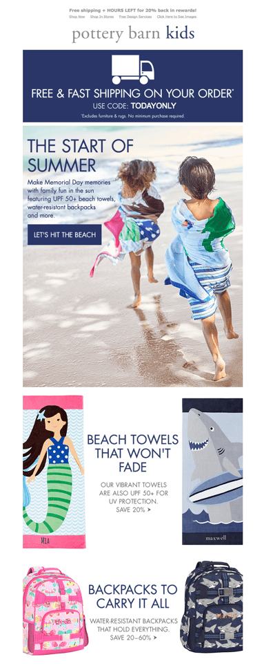 Pottery Barn Kids email screenshot