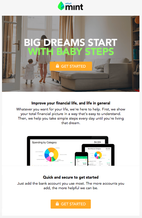Mint.com welcome email screenshot