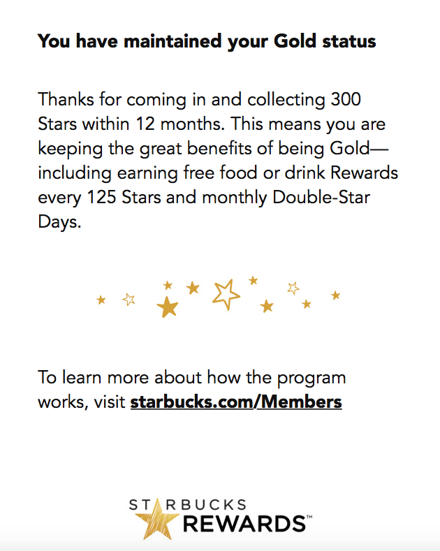 Starbucks rewards program email screenshot