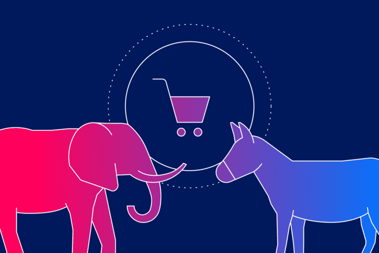 Elephant vs donkey illustration to represent political email marketing