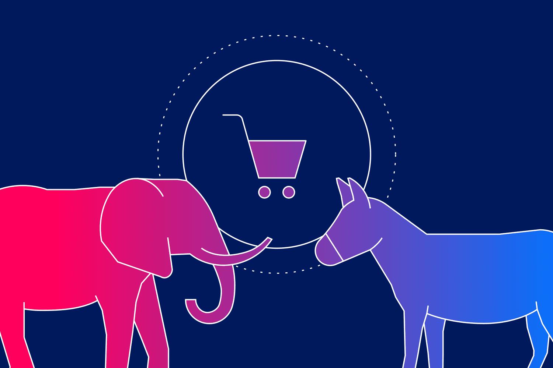 Elephant vs donkey illustration to represent political email marketing
