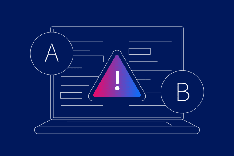 Laptop with error icon to depict unsuccessful A/B Testing