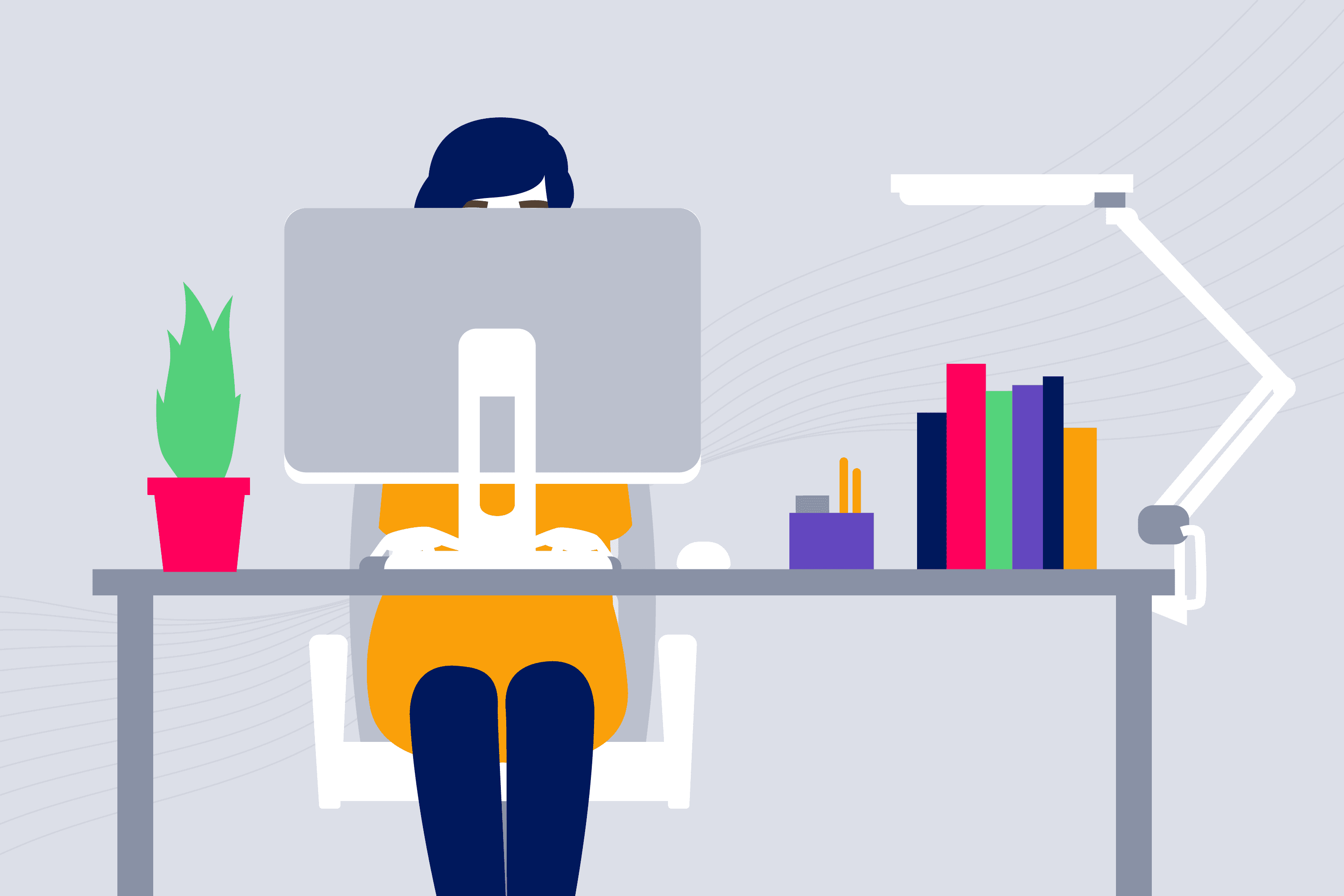 Personalization illustration of woman at a desk working on her computer