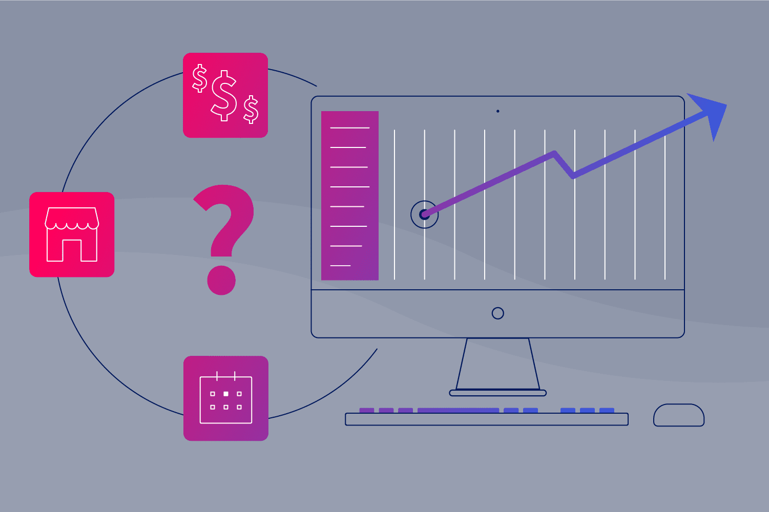 Line illustration of question mark and computer to depict reasons of not upgrading growth marketing platform