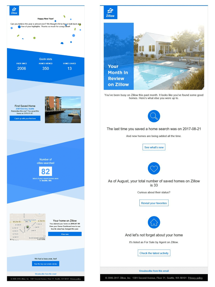 Zillow Year in Review and Month in Review email screenshots