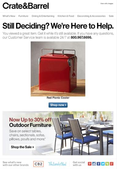 Crate & Barrel personalization email screenshot