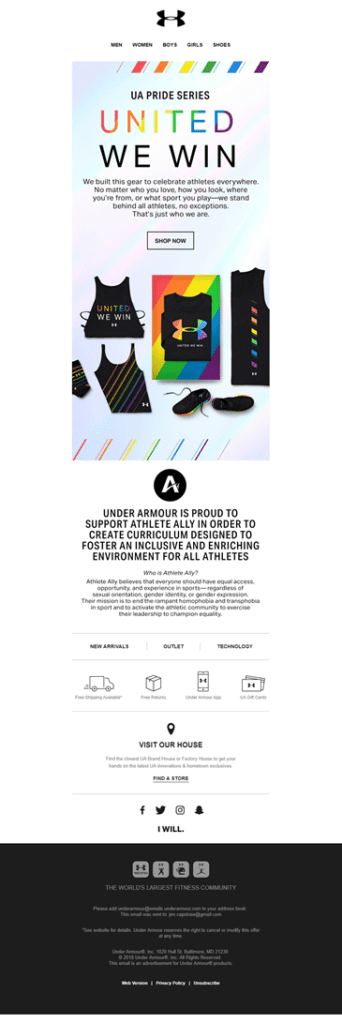 Under Armour political email marketing screenshot