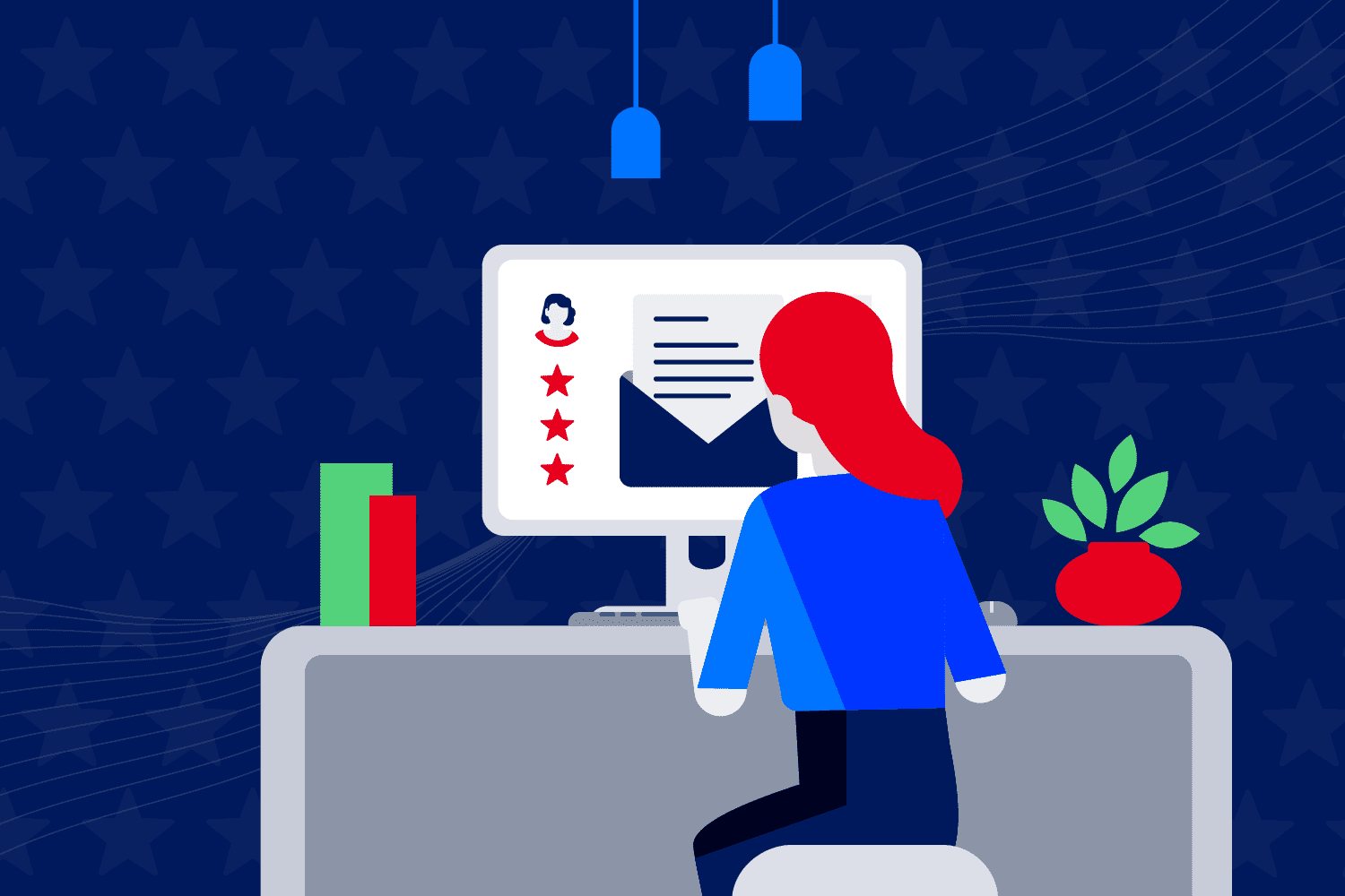 Illustration of email marketer building Labor Day campaign