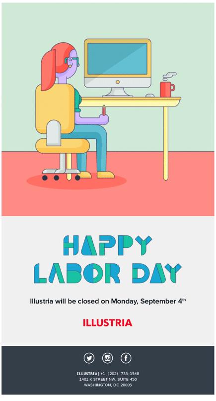 Illustria Labor Day email screenshot