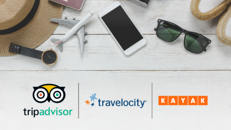 TripAdvisor, Travelocity & Kayak logos for teardown on online travel agents