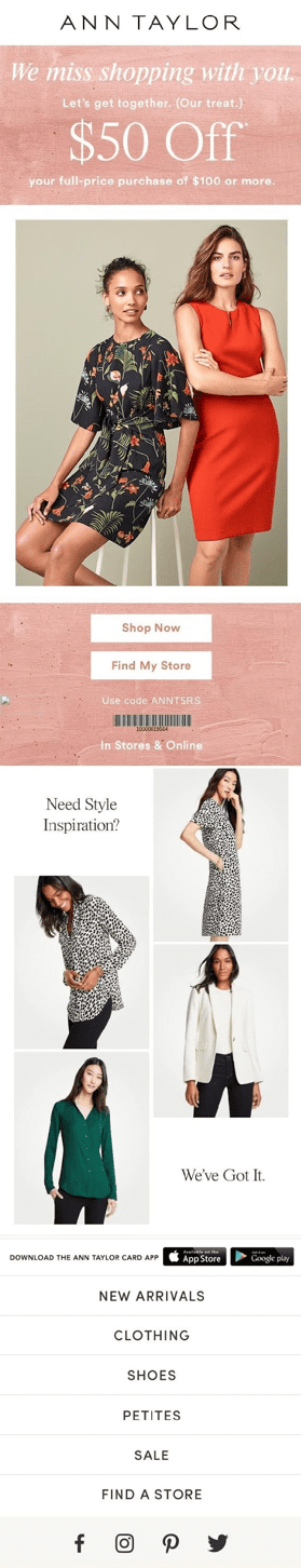 Ann Taylor win-back email for re-engagement segment