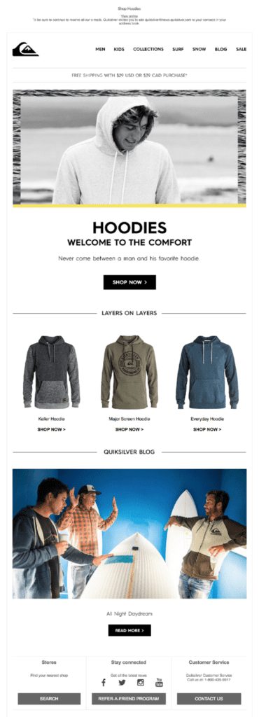 Hoodies email for abandonment segments