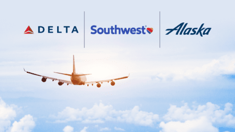 Stock photo of airplane with Delta, Southwest & Alaska Airlines logos