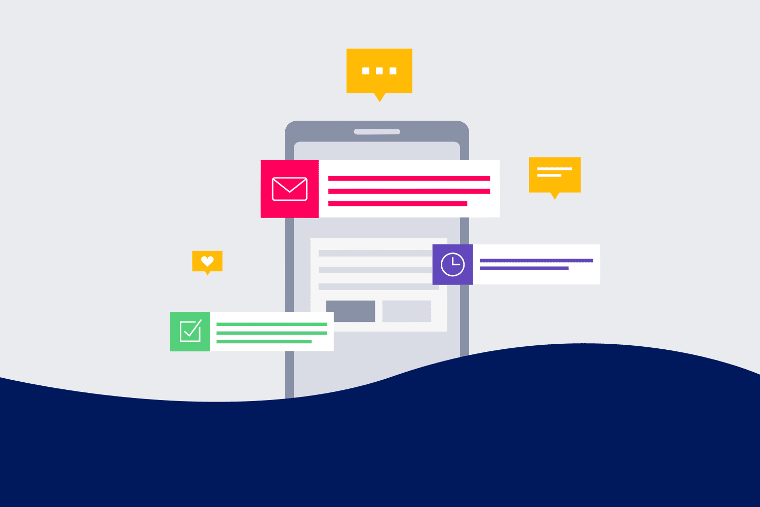 Mobile push messaging illustration