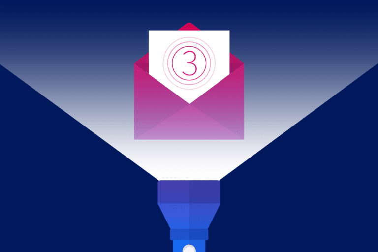 Illustration of email icon with flashlight shining on it to represent email urban legends