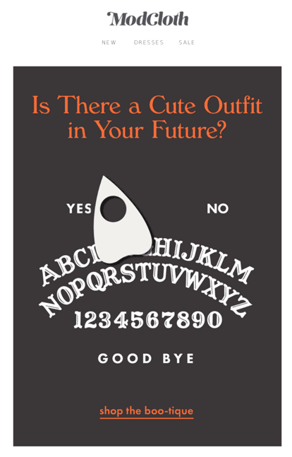 ModCloth Halloween email screenshot