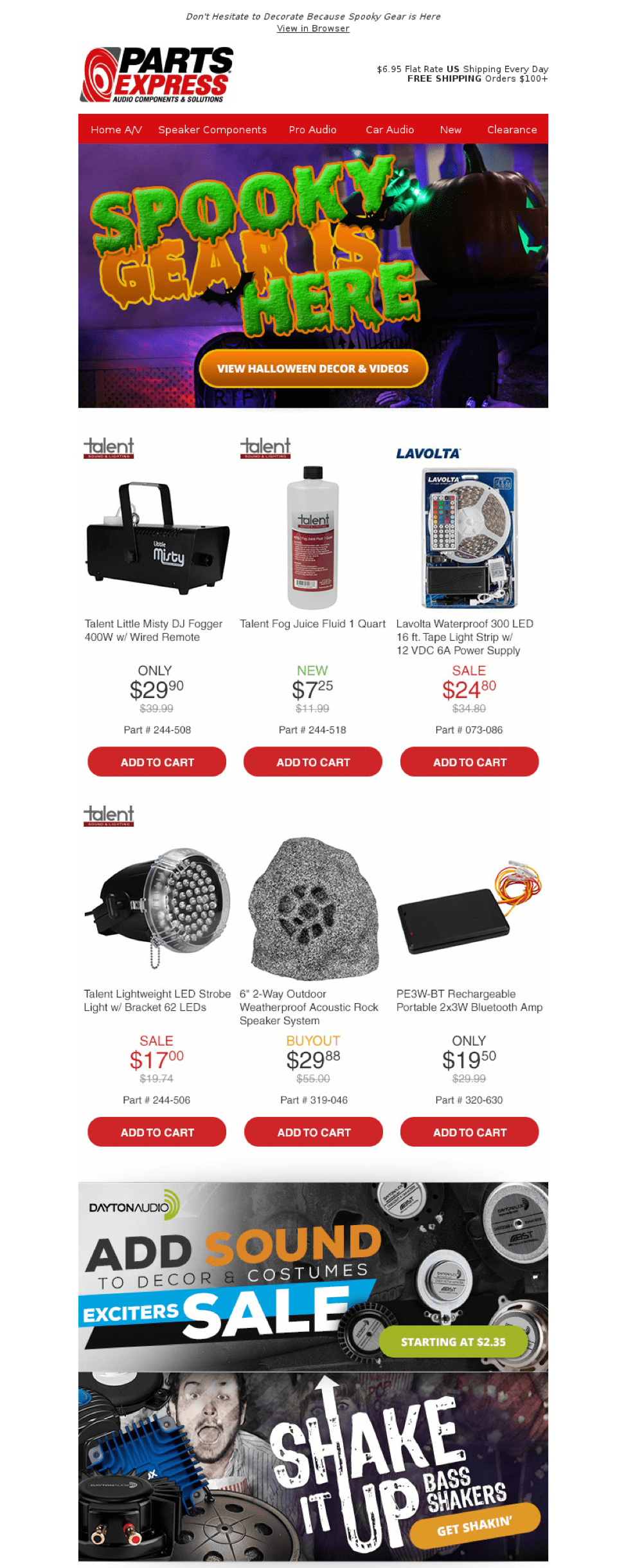 Parts Express Halloween email screenshot