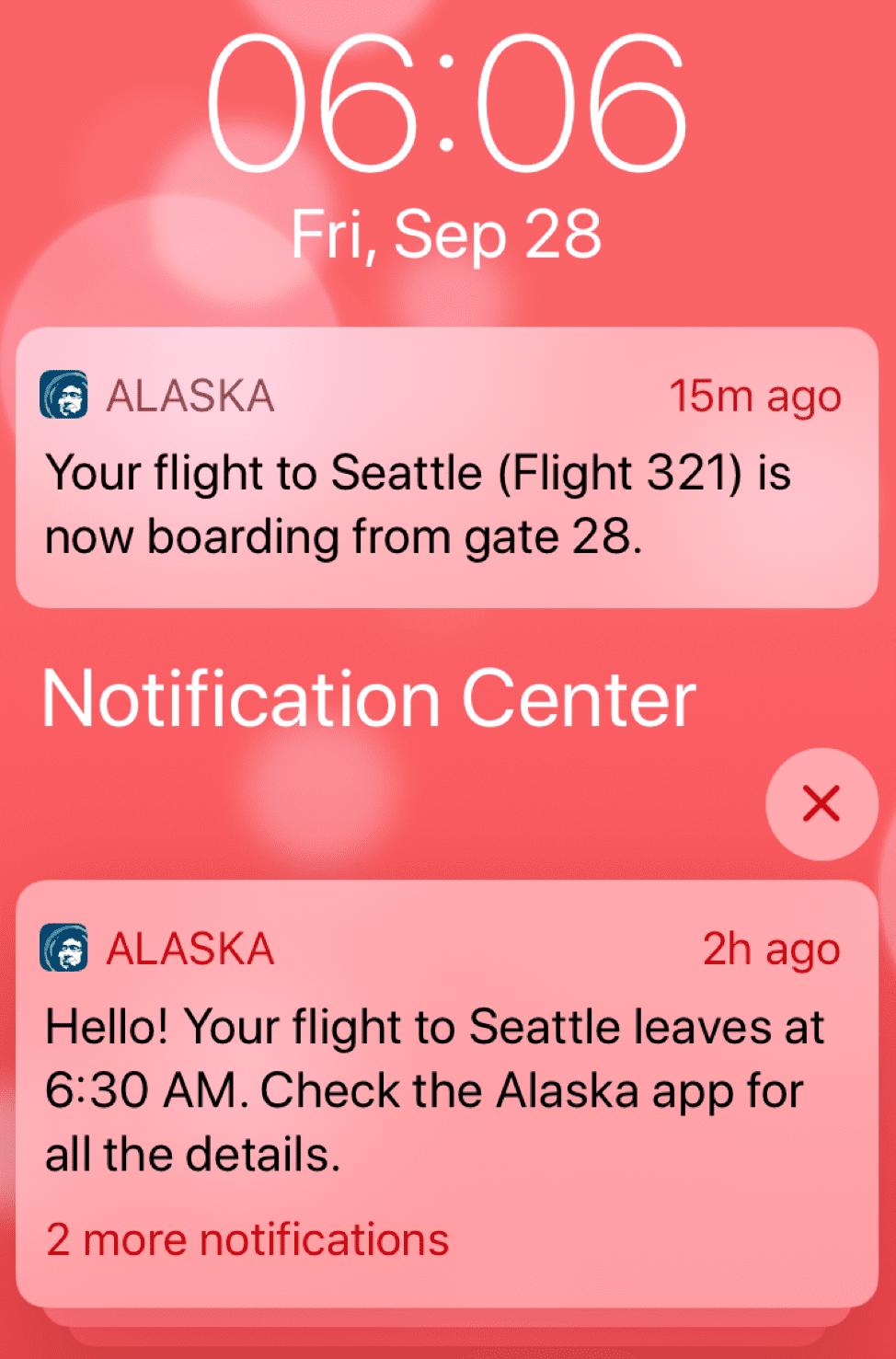 Alaska Airlines mobile push
