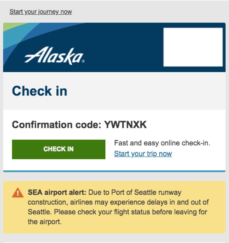 Alaska Airlines email screenshot