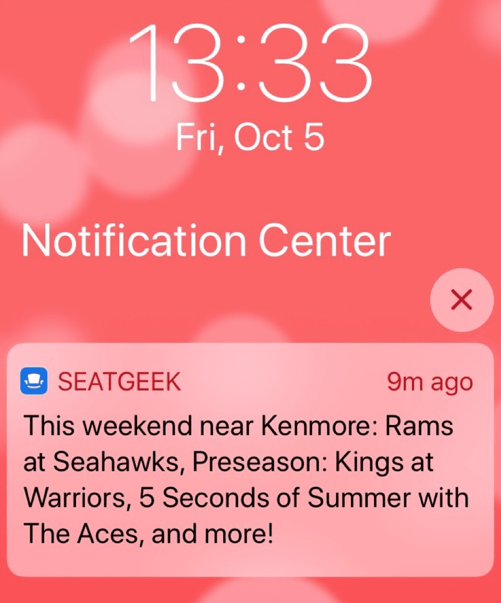 SeatGeek mobile push notification