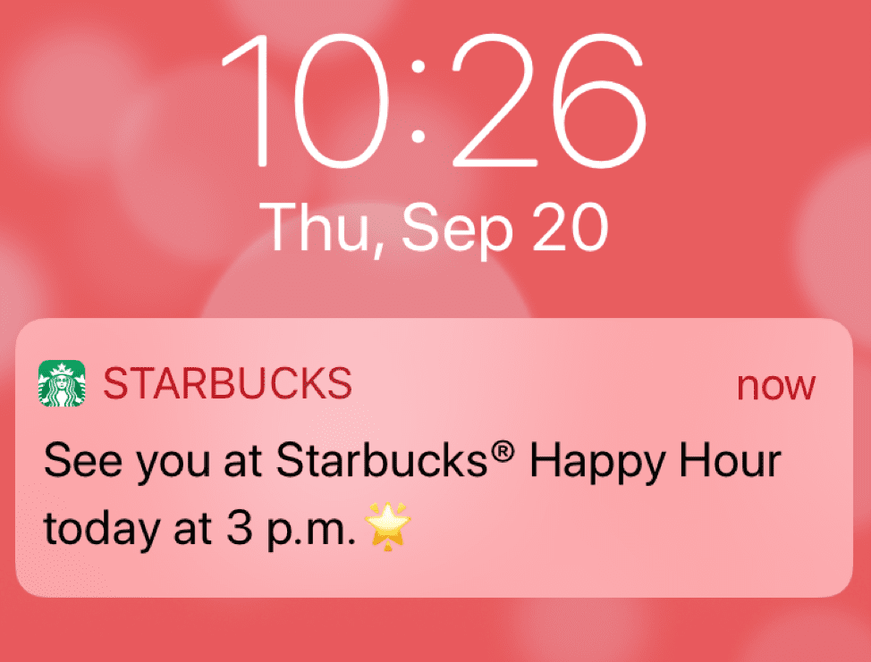 Starbucks mobile push notification