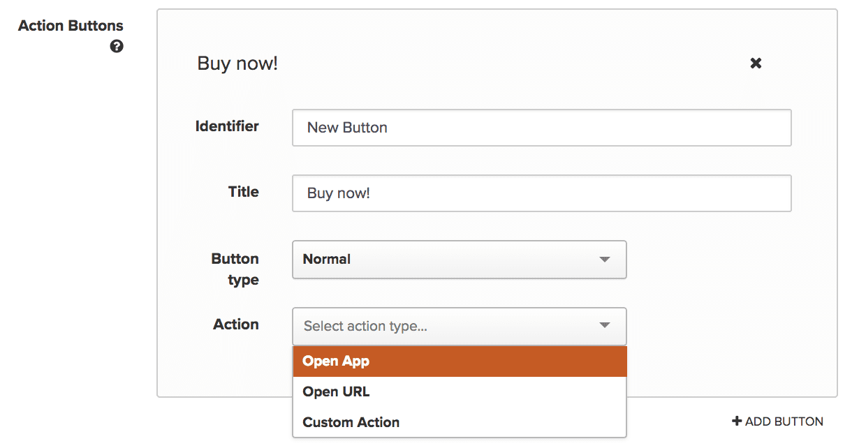 Creating Push Action buttons inside Iterable