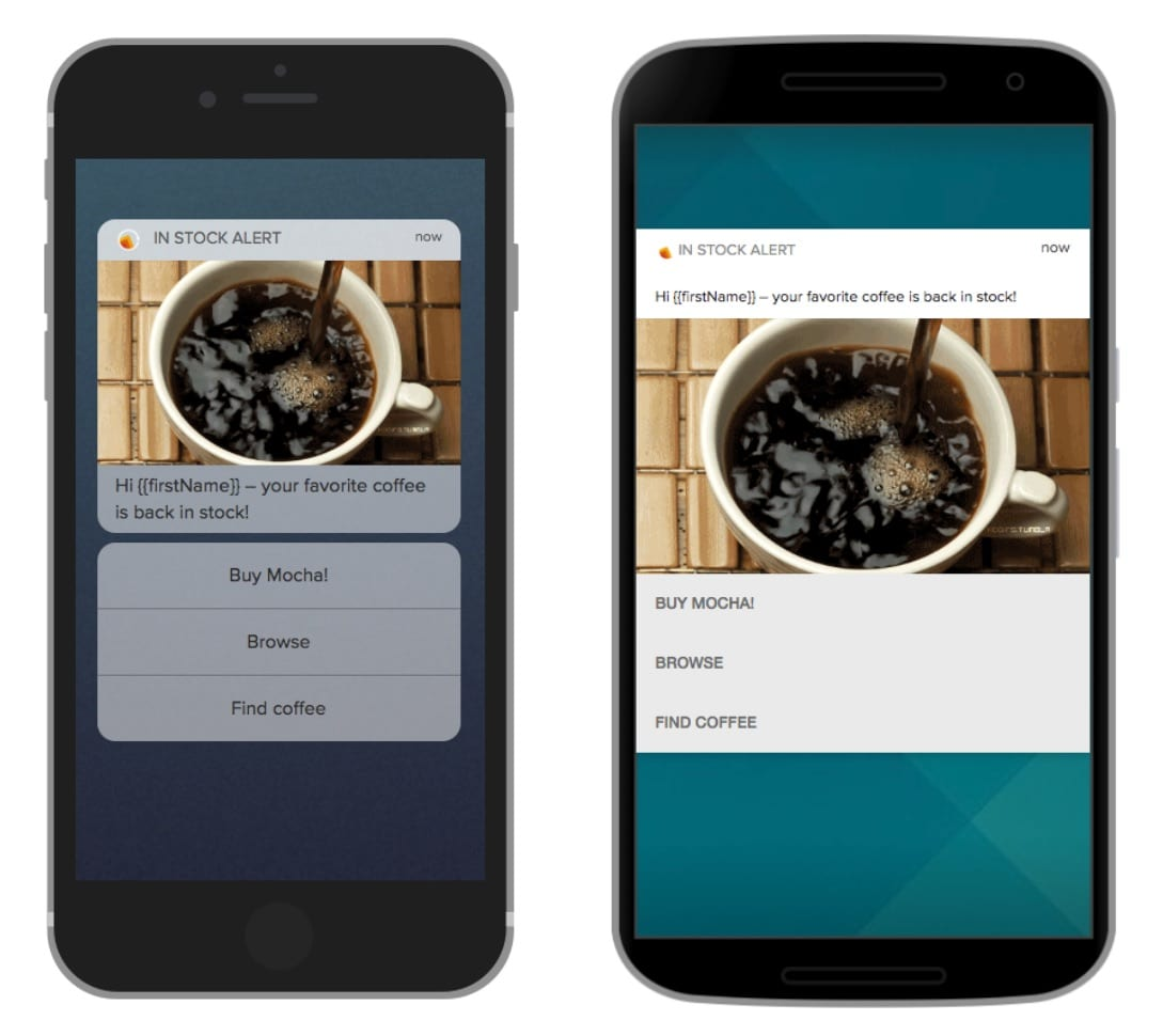 Mobile push action button examples