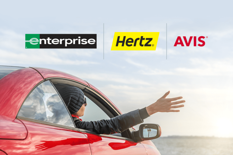 Car rental companies: Enterprise, Hertz, and Avis logos