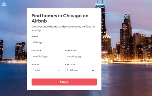 Airbnb post-click experience: Chicago landing page