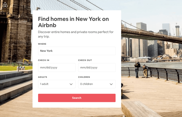 Airbnb post-click experience: New York landing page
