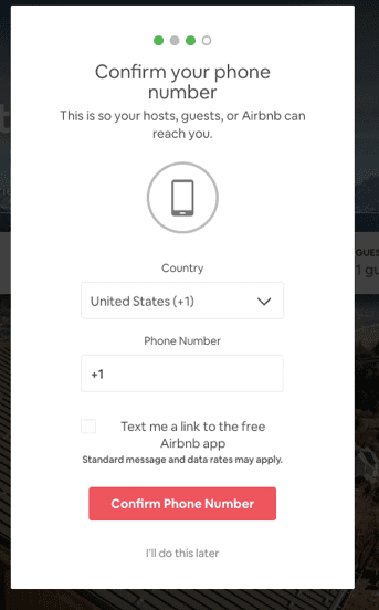 Airbnb post-click experience: Confirm phone number