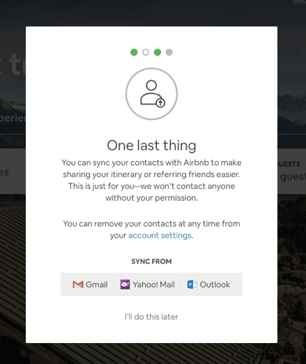 Airbnb post-click experience: Sync contacts
