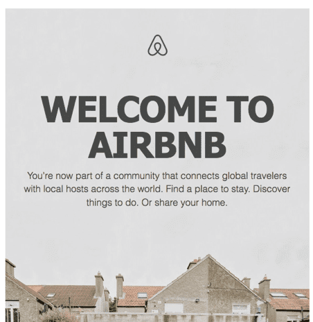 Airbnb post-click experience: Welcome email