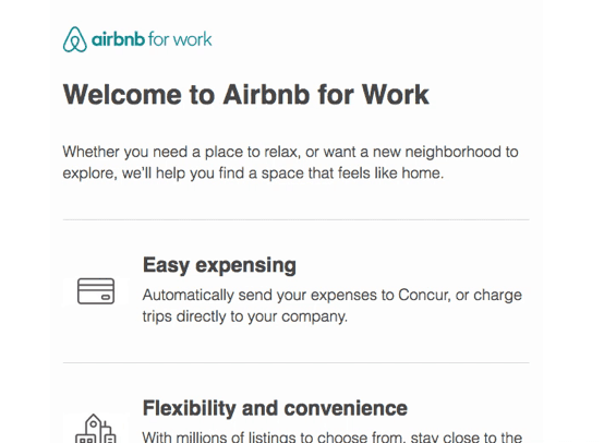 Airbnb post-click experience: Airbnb for Work
